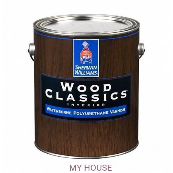 Полуматовый водный лак для пола и мебели Wood Classic Waterborne Polyuretane Varnish Satin 3,8л