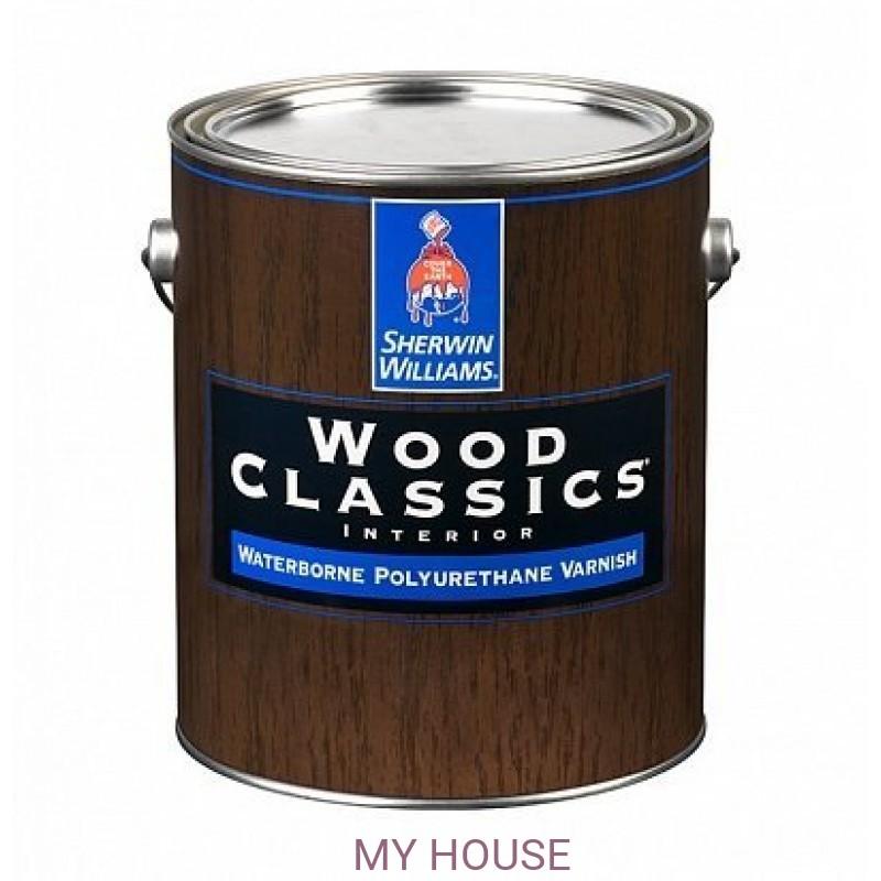 Лаки и пропитки для пола и мебели (для внутренних работ)  Wood Classic Waterborne Polyuretane Varnish Satin лак сатин галл