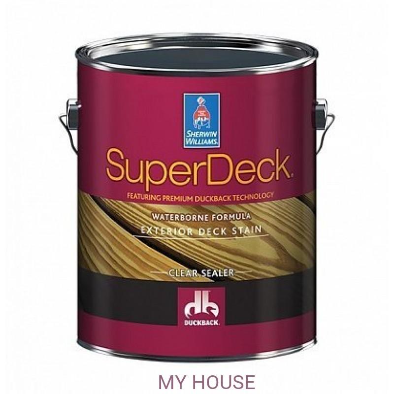 Пропитки (морилки) для дерева экстерьерные  Super Deck Exterior Waterborne Clear Sealer пропитка галлон