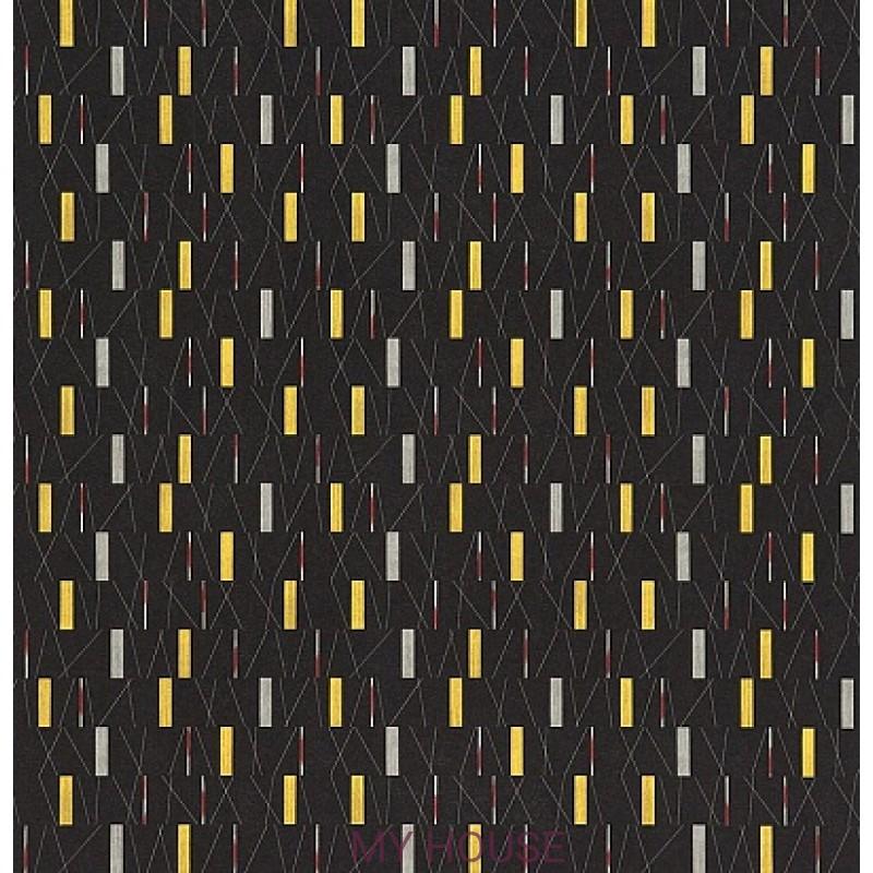 Обои 50s Collection 210203 Wrappings - Black/Yellow Sanderson