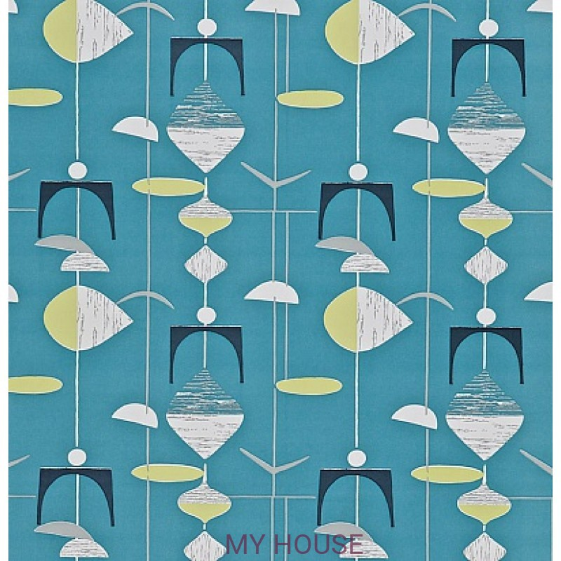 Обои 50s Collection 210215 Mobiles - Slate Blue/Lime Sanderson