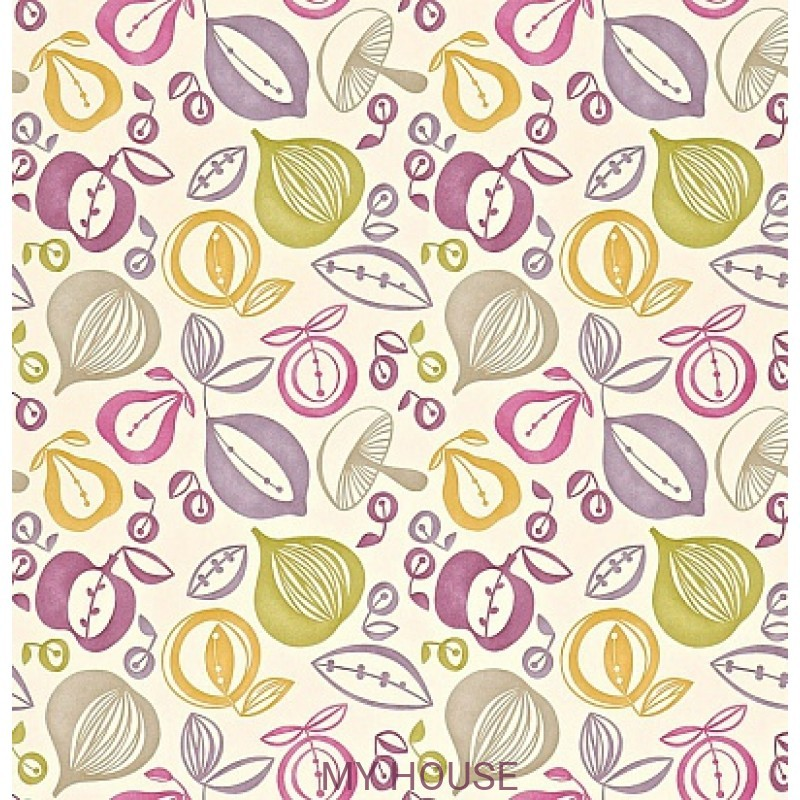 Обои 50s Collection 210224 Portobello - Green/Mauve Sanderson