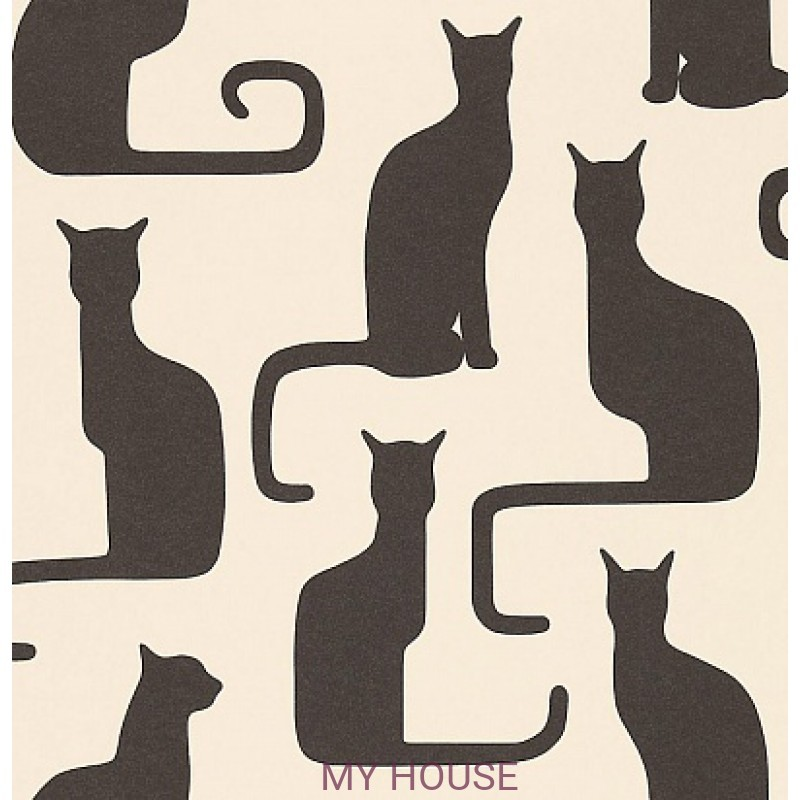 Обои Bloomsbury 211065 Omega Cats Ivory/Black Sanderson