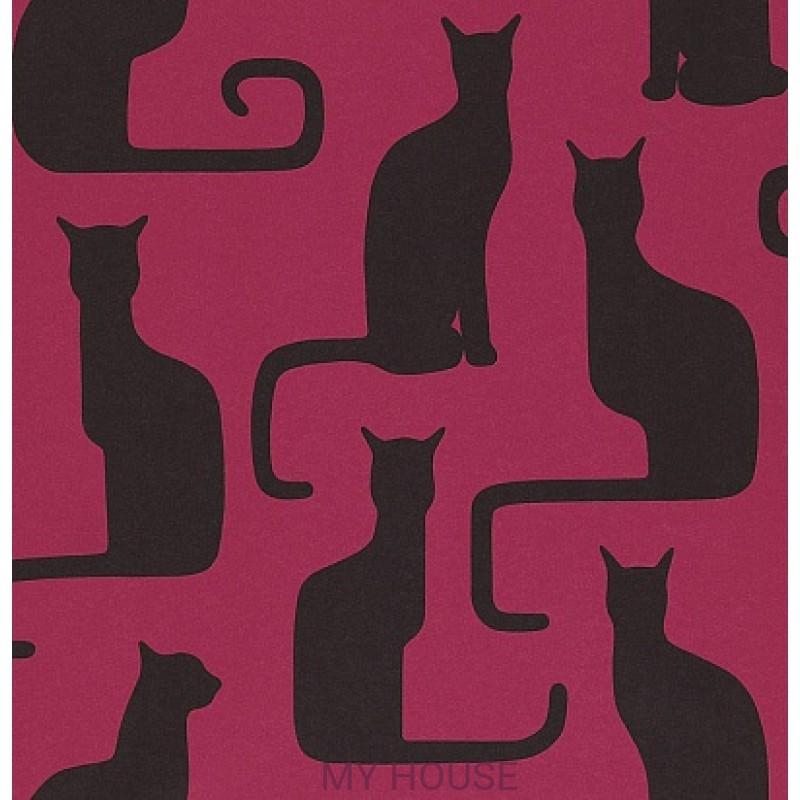 Обои Bloomsbury 211067 Omega Cats Magenta/Black Sanderson
