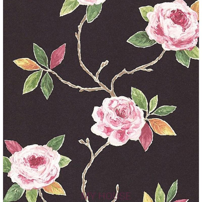 Обои Bloomsbury 211068 Ottoline Charcoal/Rose Sanderson