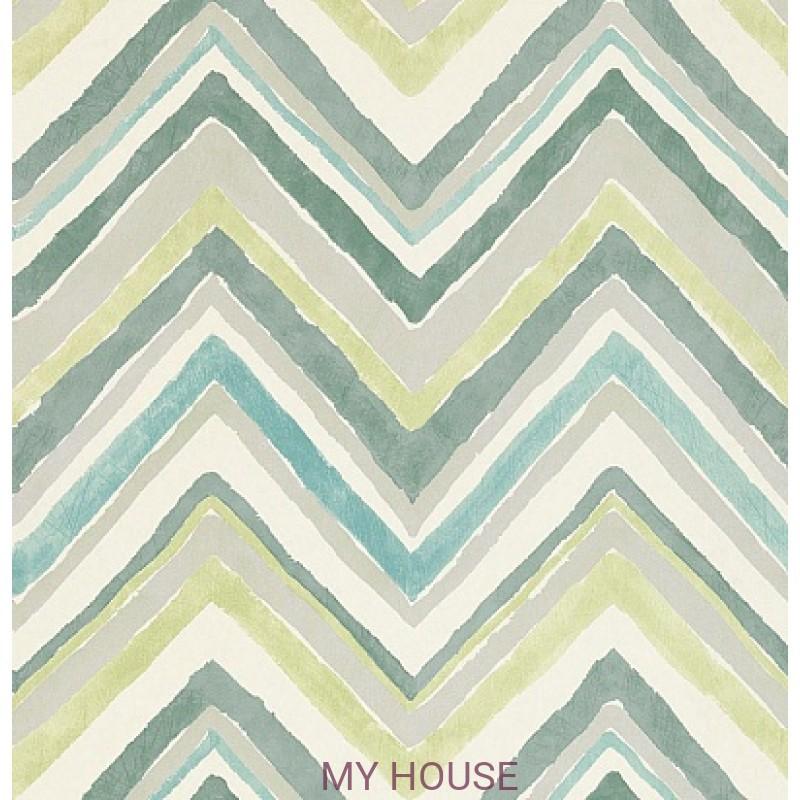 Обои Bloomsbury 211076 Zigzag Aqua/Chartreuse Sanderson