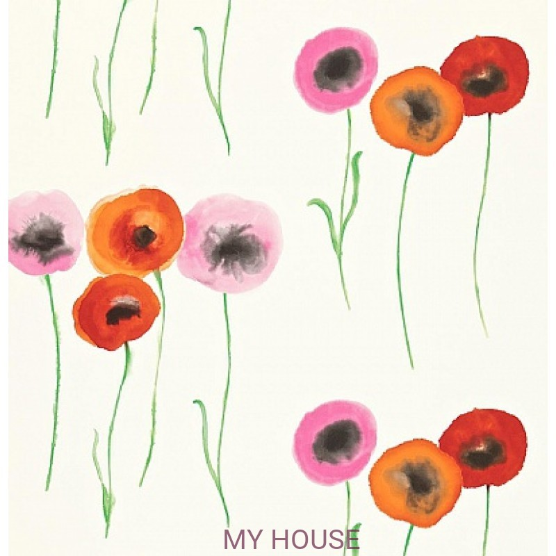 Обои Colour For Living 211666 Poppies Red/Fuchsia Sanderson