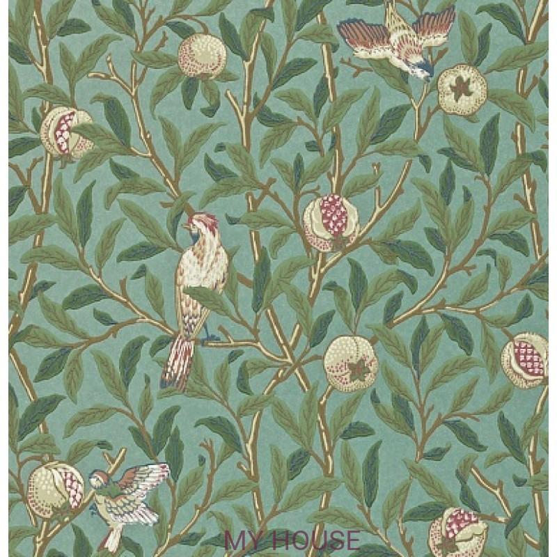 Обои Morris Archive II 212538 Bird & PomegranateTurquoise/Coral