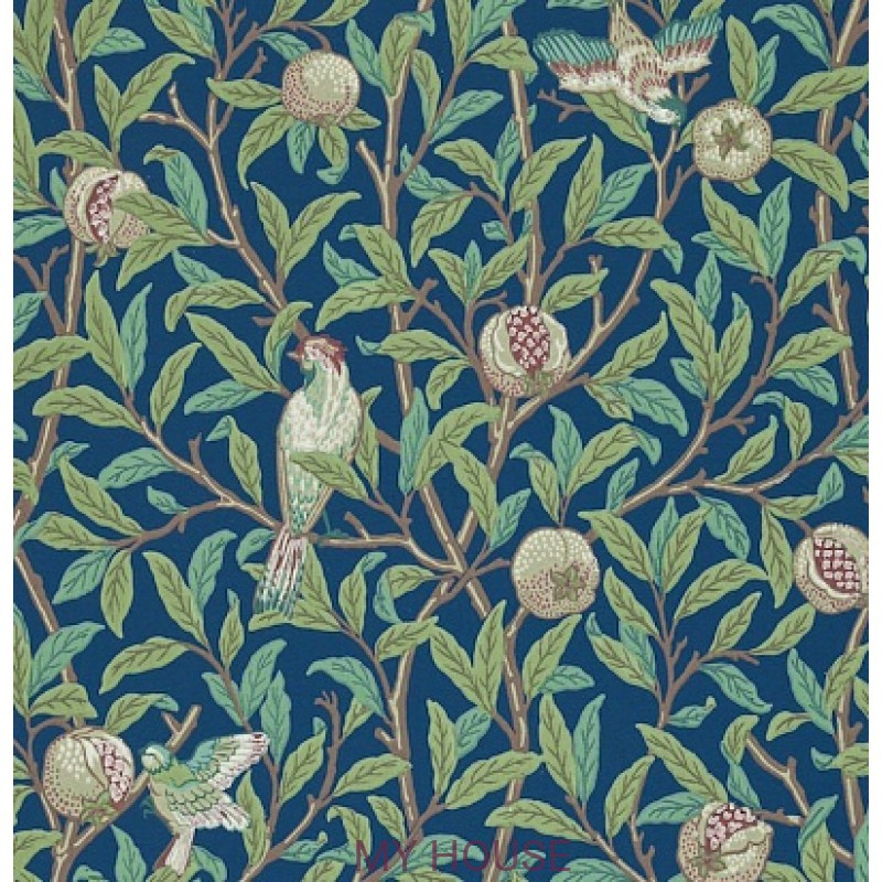 Обои Morris Archive II 212540 Bird & Pomegranate Blue/Sage Morri
