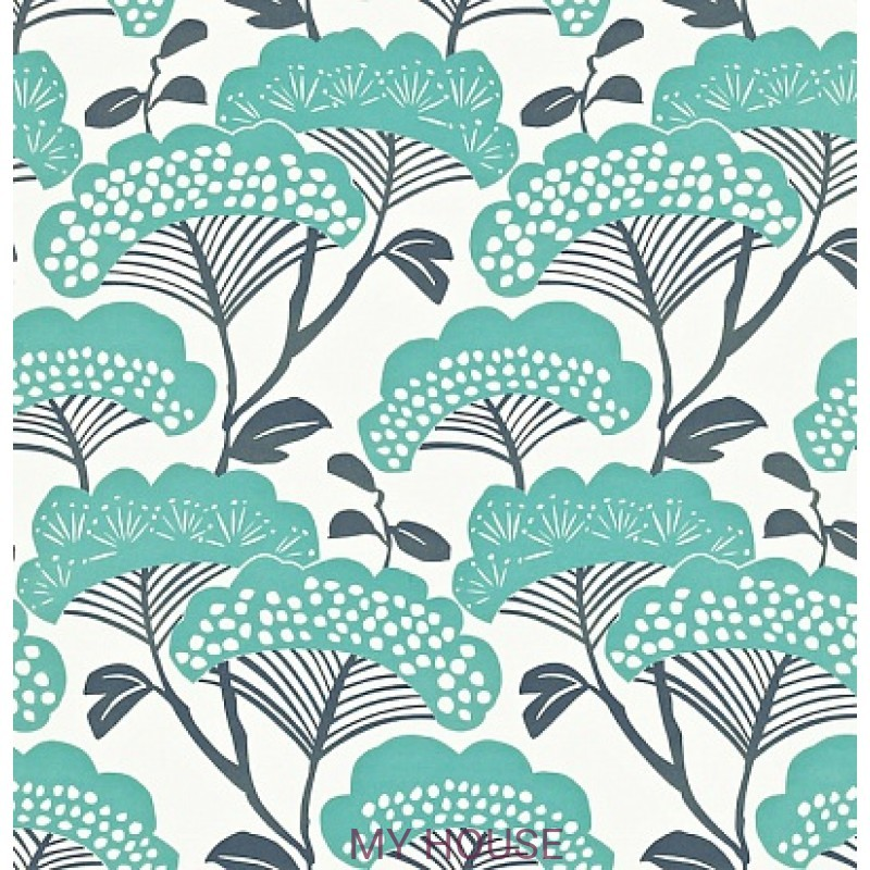 Обои Madison 212838 Tree Tops Teal/Ivory Sanderson