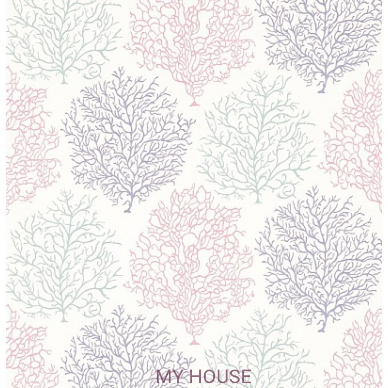 Обои Voyage of Discovery 213392 Coral Reef Teal/Mauve Sanderson