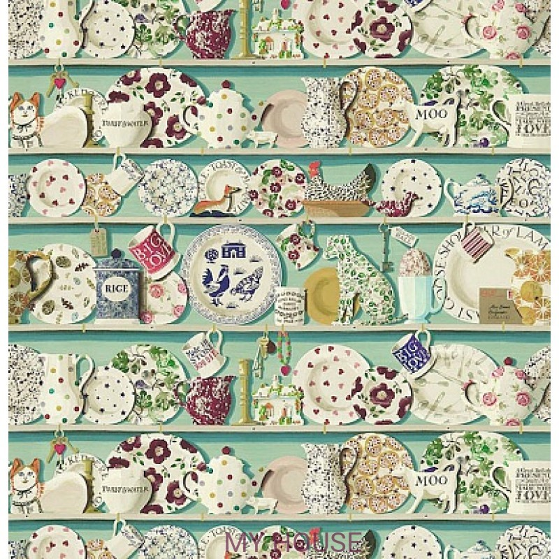 Обои Emma Bridgewater 213649 The Dresser Duck Egg/multi Sanderso