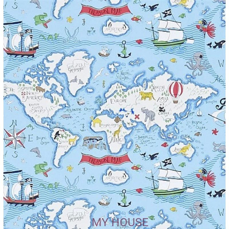 Обои Abracazoo 214038 Treasure Map Sea Blue Sanderson