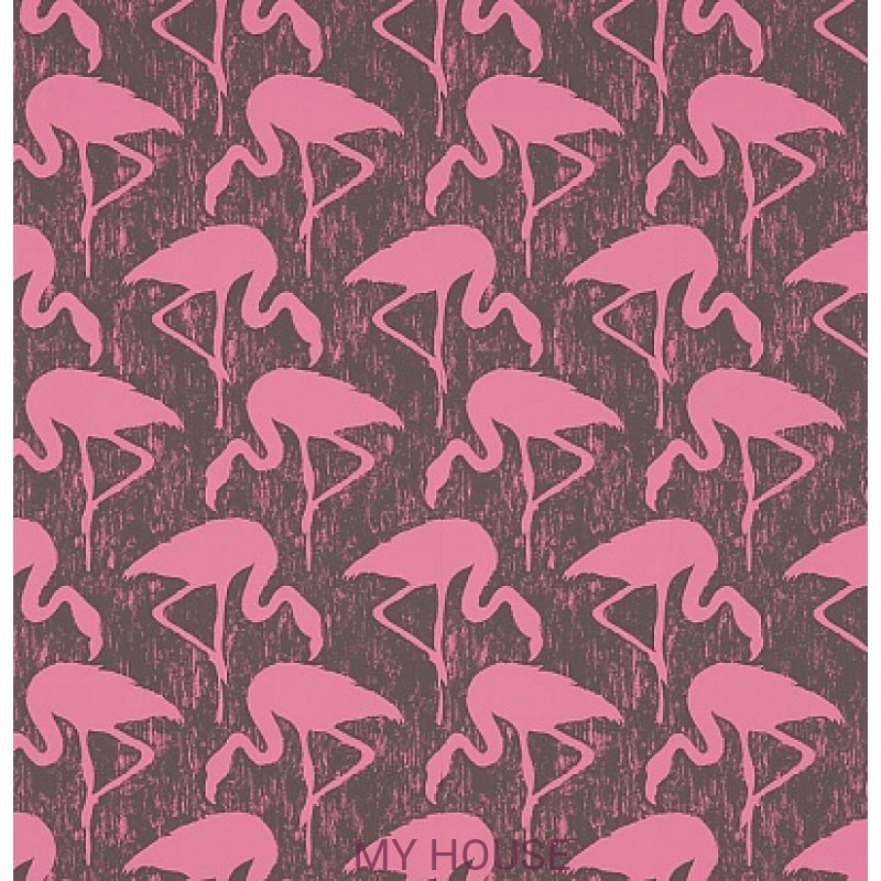 Обои Vintage 2 214567 Flamingos Charcoal/Pink Sanderson