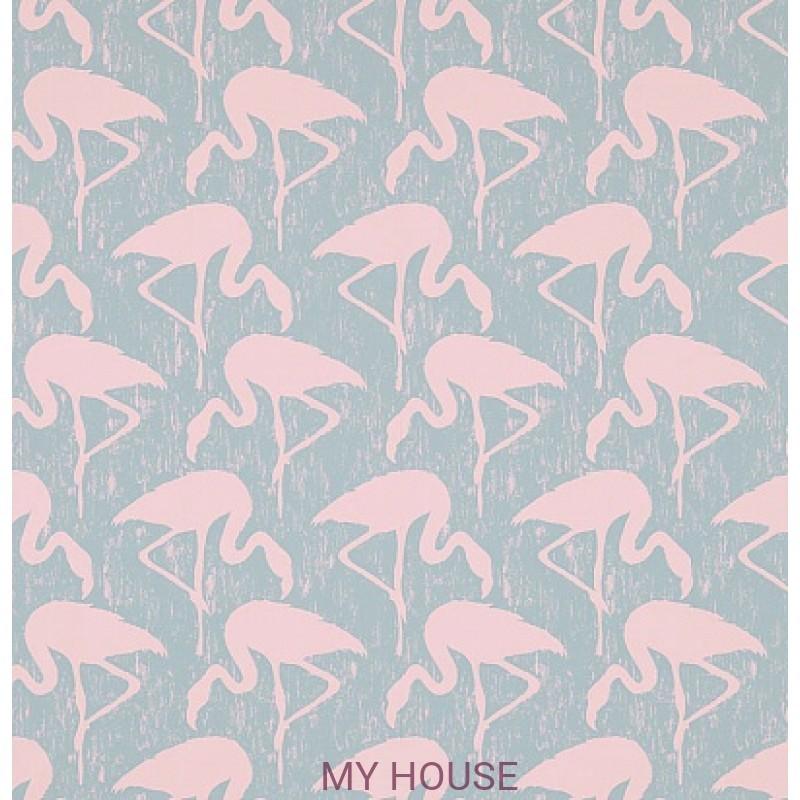 Обои Vintage 2 214569 Flamingos Turquoise/Pink Sanderson
