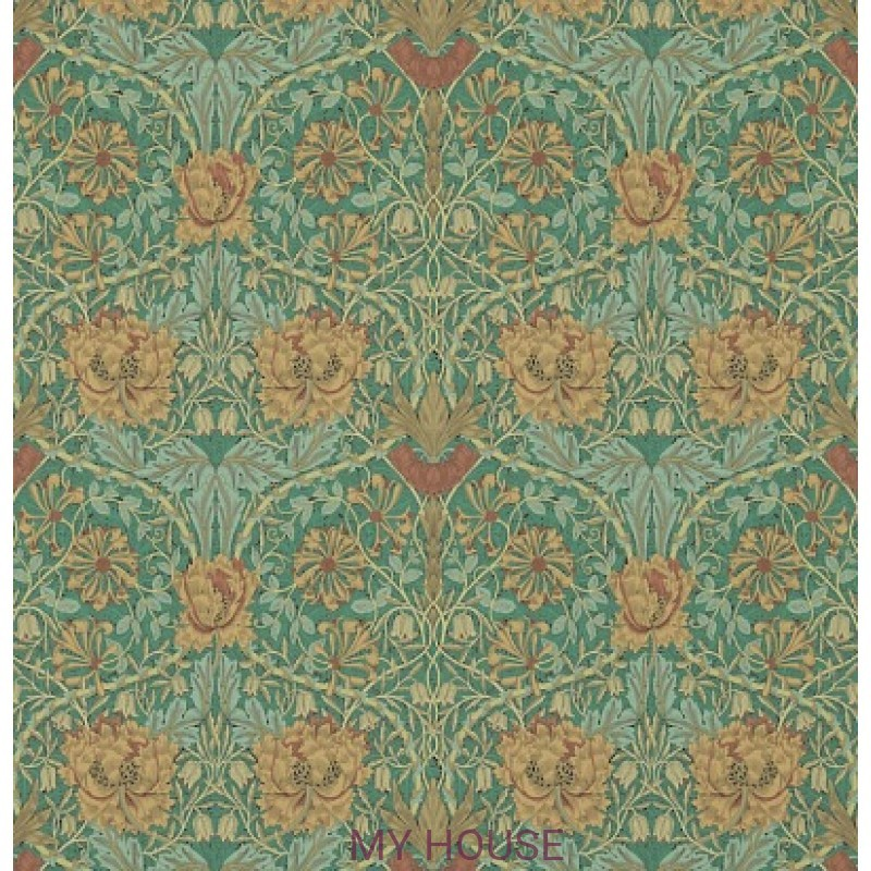 Обои Обои 214704 Honeysuckle&Tulip Emerald/Russet Morris&Co