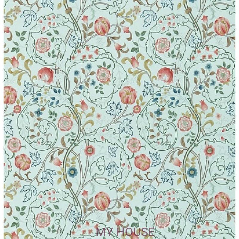 Обои Обои 214731 Mary Isobel Silk Blue/Pink Morris&Co