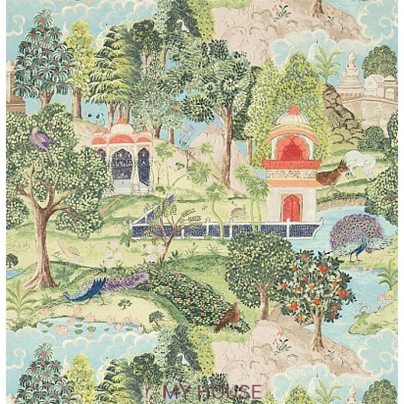Обои Jaipur 311743 Peacock Garden Green/Coral Zoffany