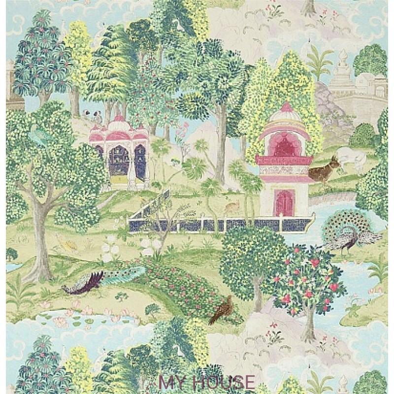 Обои Jaipur 311748 Peacock Garden  Moss/Pink Zoffany