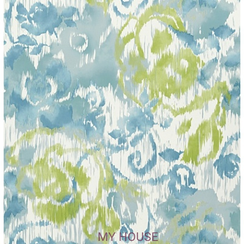 Обои Bridgehampton T24342 Waterford Floral Aqua and Green THIBAU