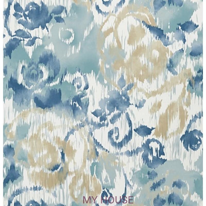 Обои Bridgehampton T24343 Waterford Floral Aqua and Blue THIBAUT