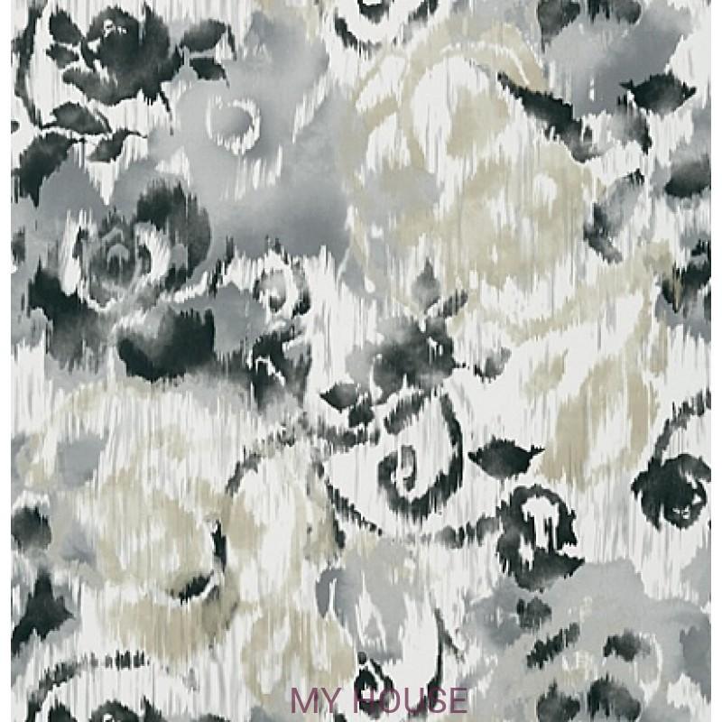 Обои Bridgehampton T24344 Waterford Floral Charcoal THIBAUT