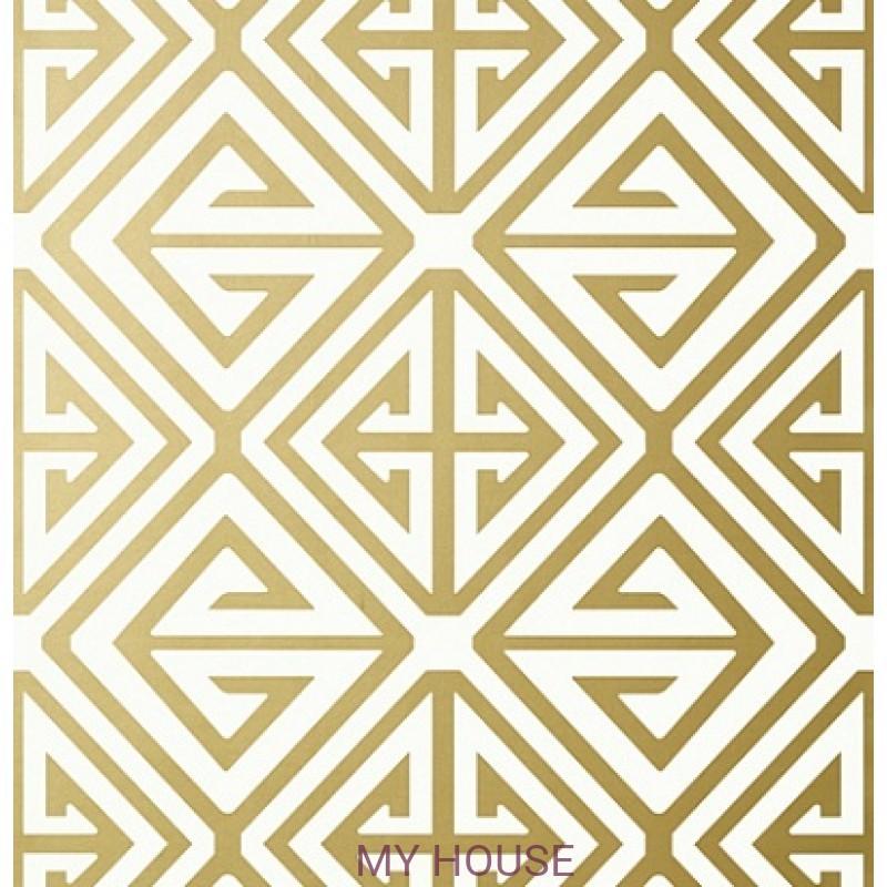 Обои Bridgehampton T24354 Demetrius Metallic Gold THIBAUT