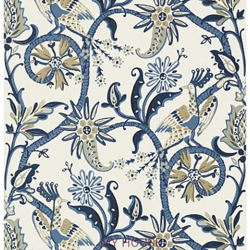 Обои Bridgehampton T24356 Peacock Garden Blue THIBAUT