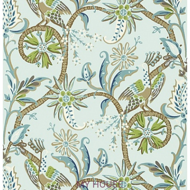 Обои Bridgehampton T24360 Peacock Garden Aqua THIBAUT