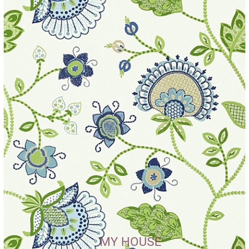 Обои Bridgehampton T24369 Portofino Blue and Green THIBAUT