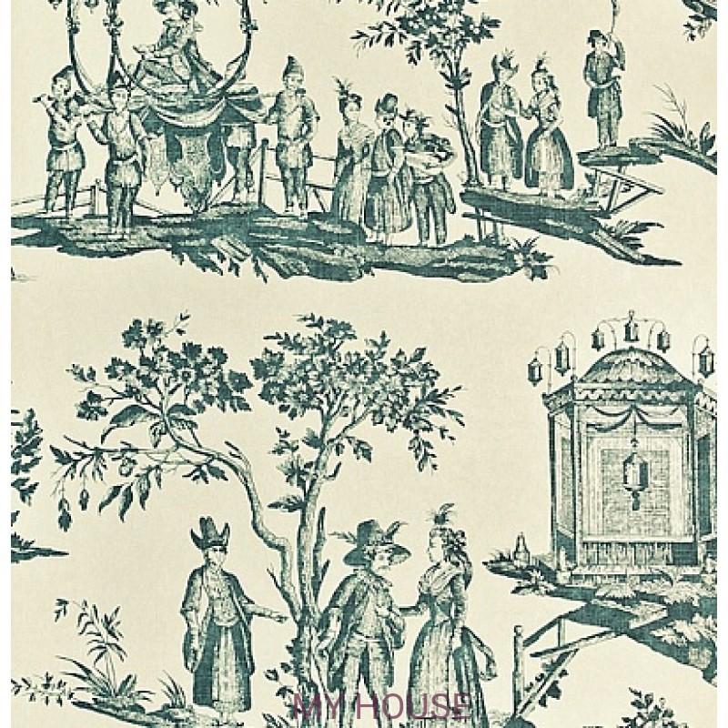 Обои Chantemerle Wallpaper CHP02004 L'lle Des Lanternes-Teal Zof