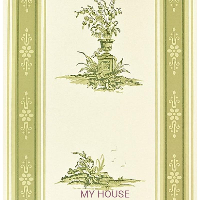 Обои Chantemerle Wallpaper CHP04004 Reveillon Stripe-Green Zoffa
