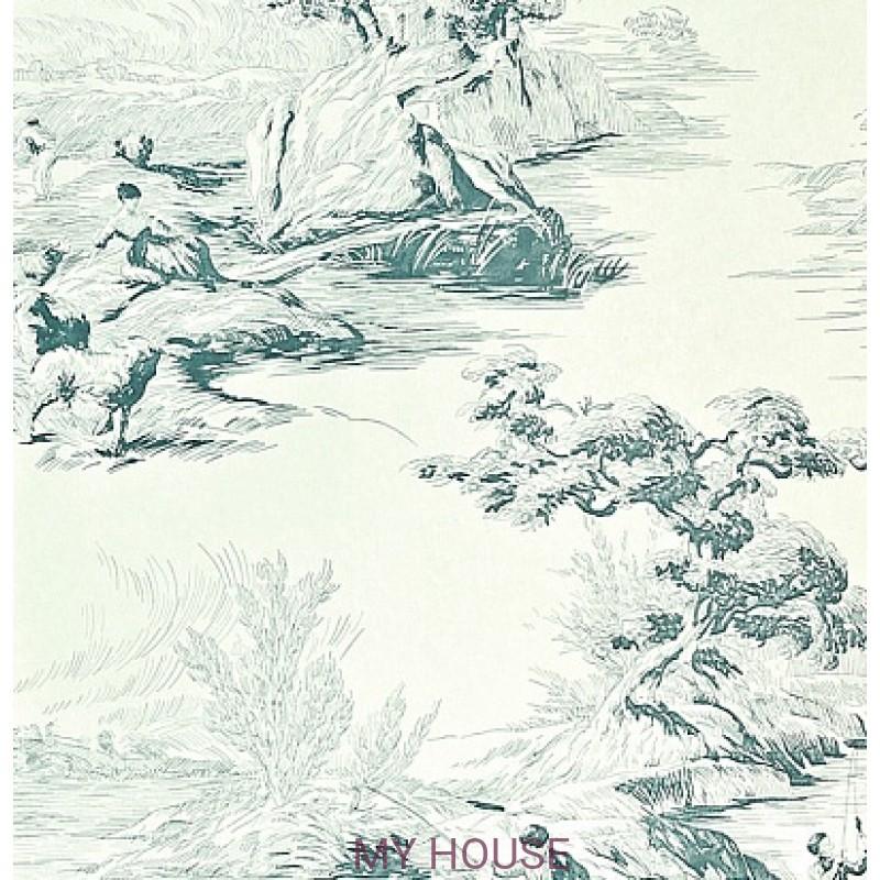 Обои Chantemerle Wallpaper CHP05002 The Boatmen-Teal Zoffany