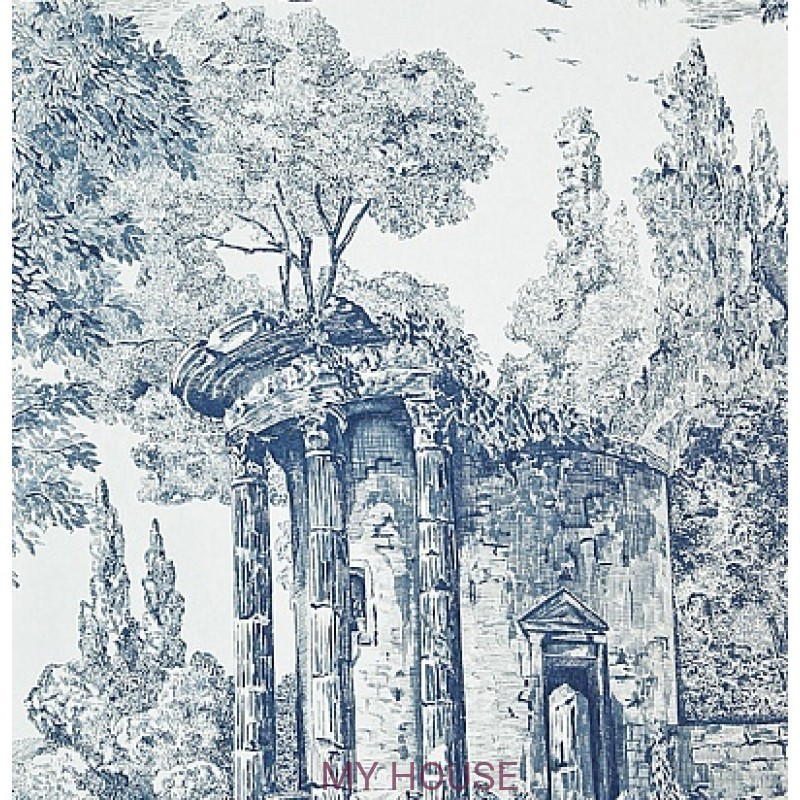 Обои Chantemerle Wallpaper CHP07002 The Temple De Jupiter-Blue Z