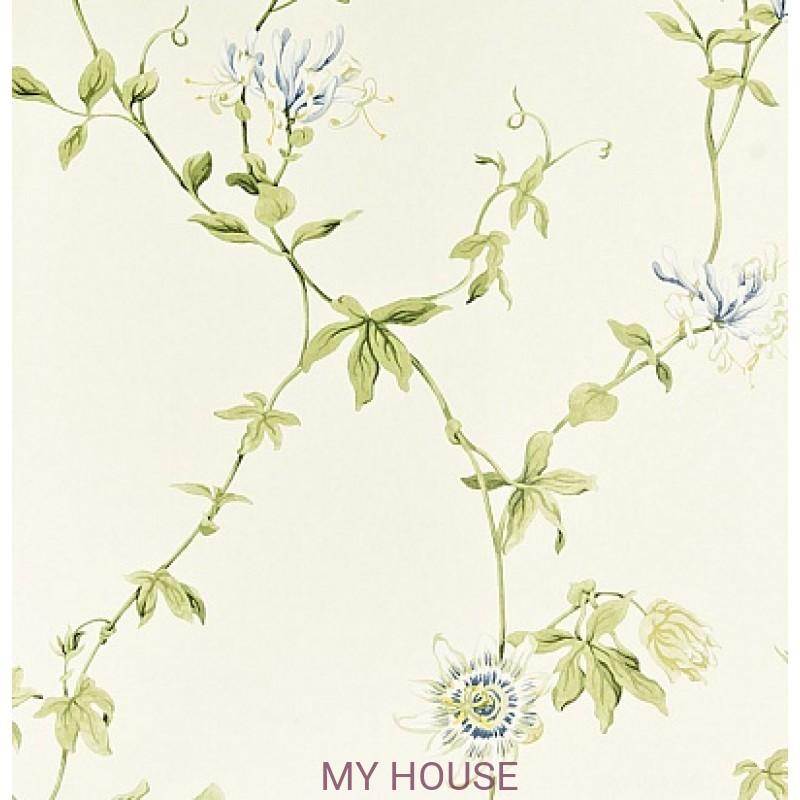 Обои Pemberley DPEMPF101  Passion Flower Ivory/China Blue Sander