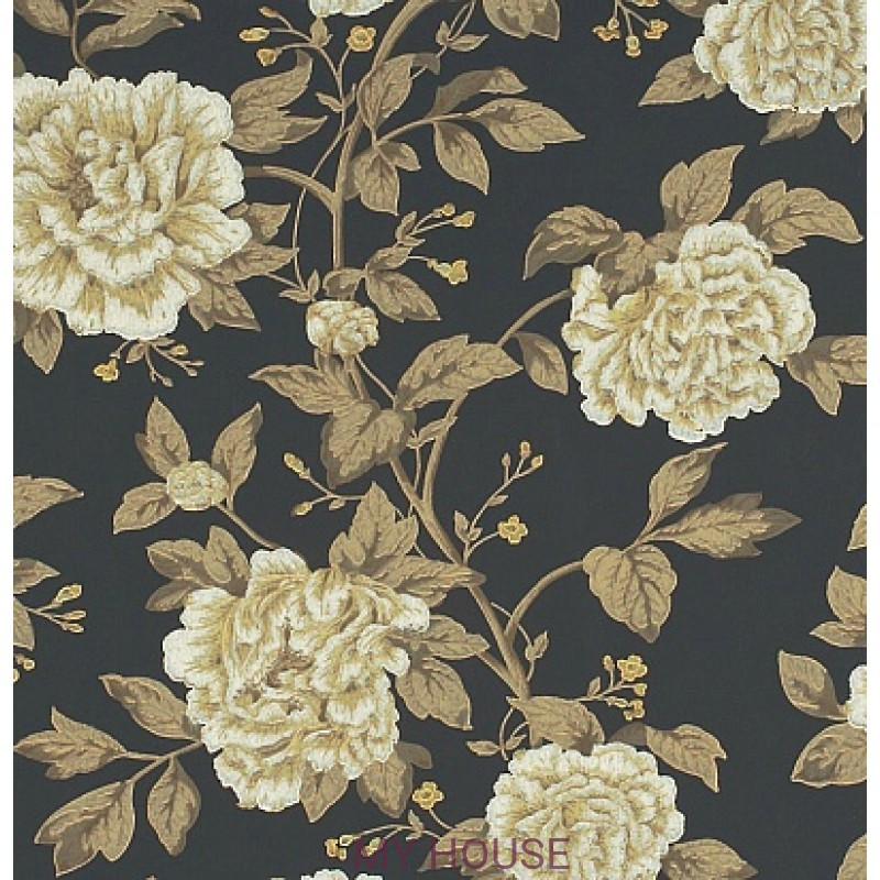 Обои Pemberley DPEMPT101  Peony Tree Midnight Blue/Primrose Sand