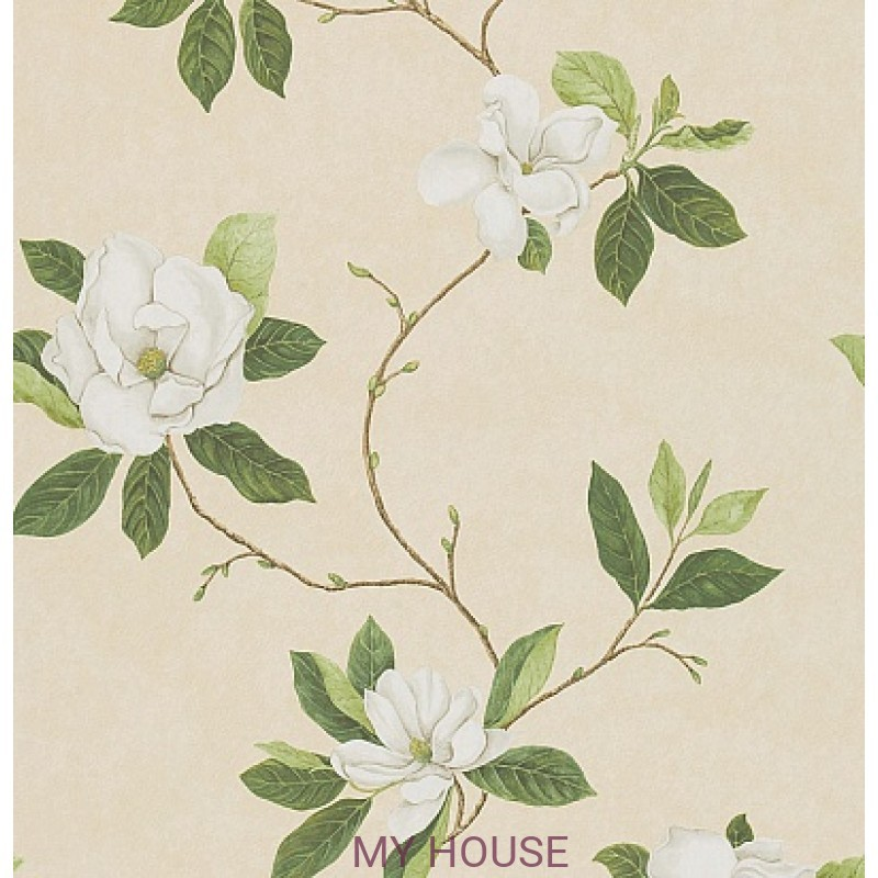 Обои Parchement Flowers DPFWSW102  Sweet Bay Ivory/Green Sanders