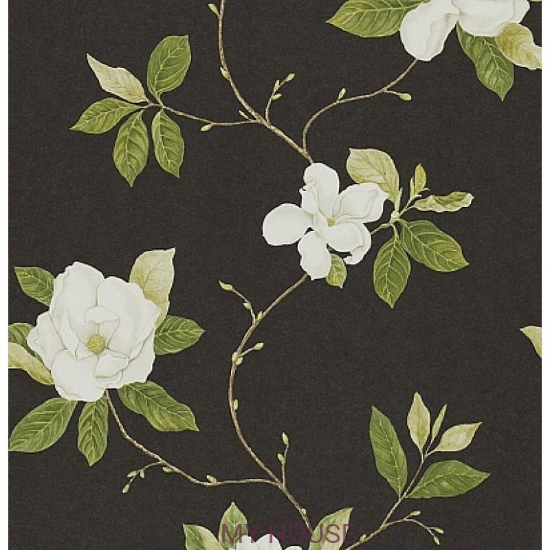 Обои Parchement Flowers DPFWSW103  Sweet Bay-Ebony/Ivory Sanders