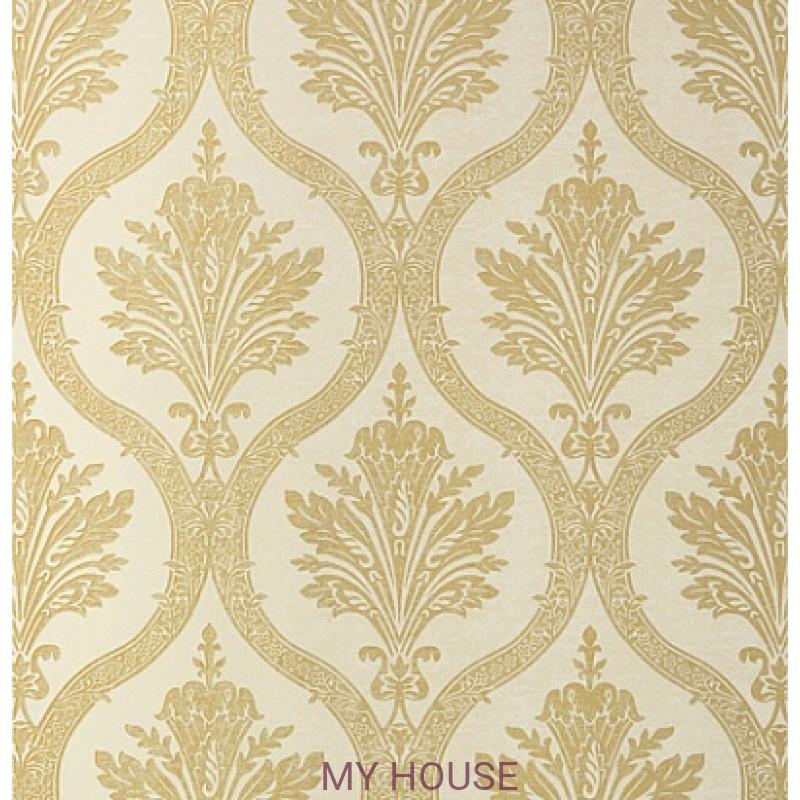 Обои Damask Resource T89159 Metallic Gold on Cream THIBAUT