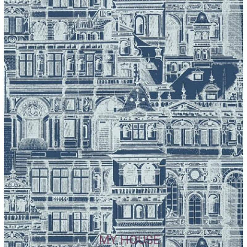 Обои Graphic Resource T35175 Palazzo Navy THIBAUT