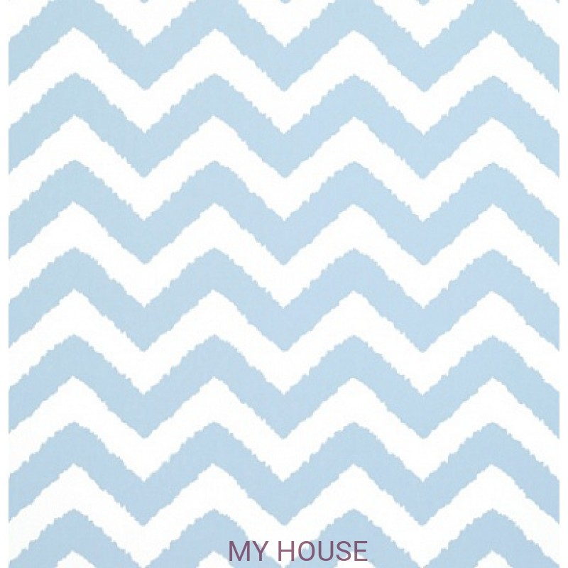 Обои Graphic Resource T35187 Widenor Chevron Sky Blue THIBAUT