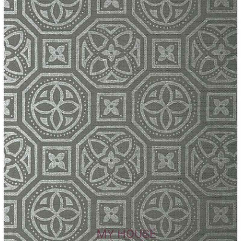 Обои Natural Resource T83024 Silver on Charcoal THIBAUT