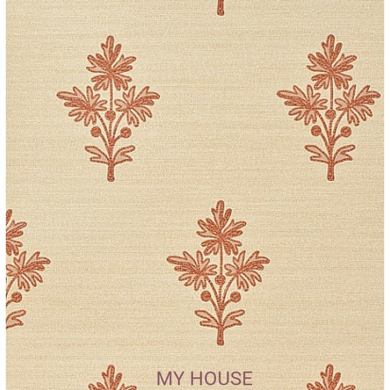 Обои Papered Walls PAW03002 Tussah Flower Wheat/Red Zoffany