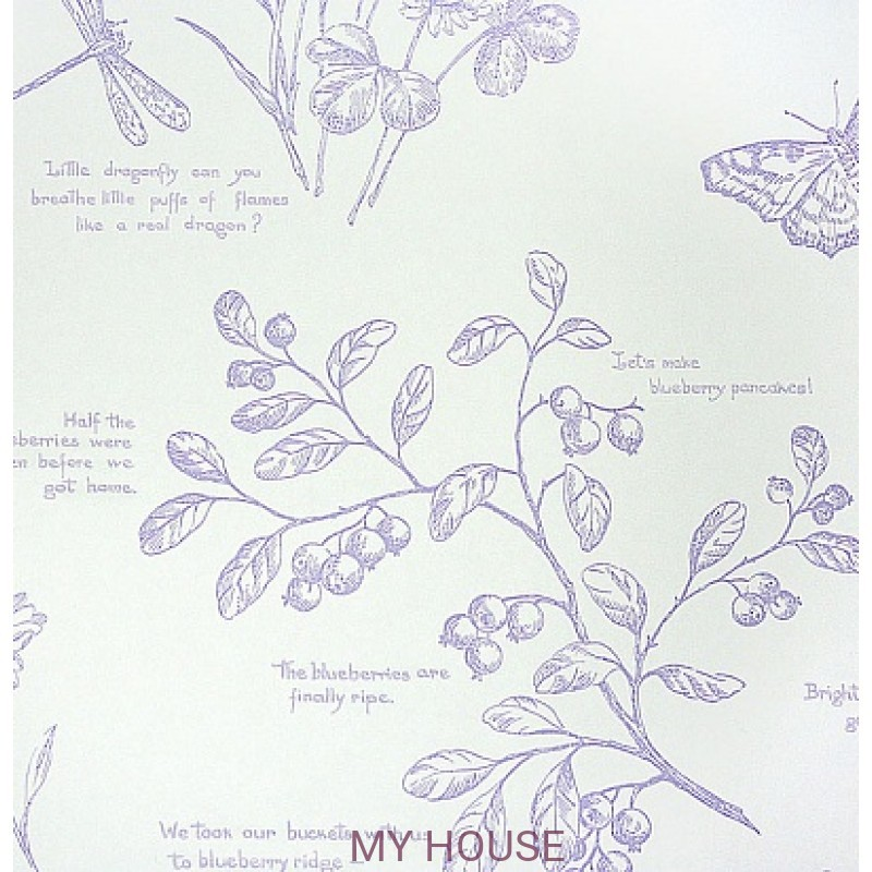 Обои Family Places PLWP-62215 Nature Study Toile - Lavender Ralp