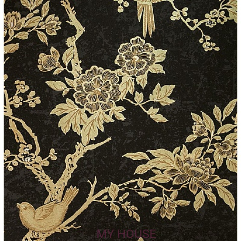 Обои Signature Century Club PRL048/02 Marlowe Floral Gilded Lacq