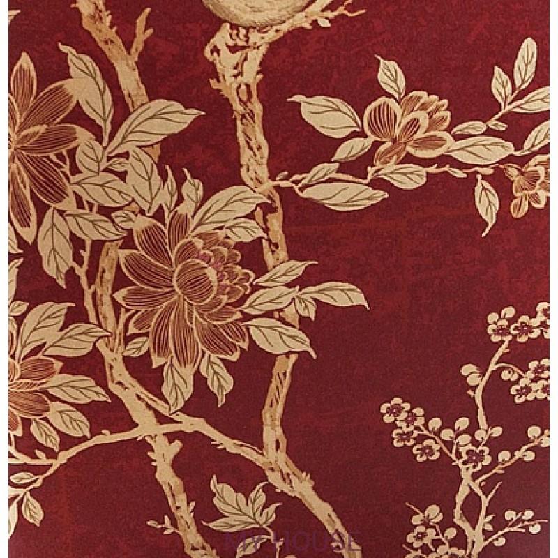 Обои Signature Century Club PRL048/03 Marlowe Floral Garnet Ralp