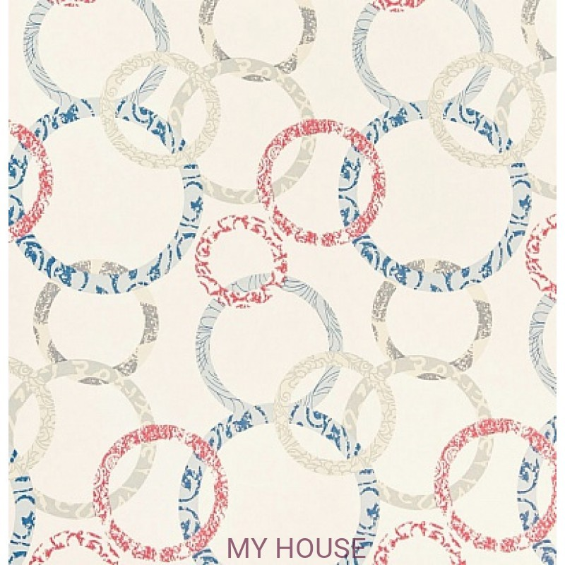 Обои Homes&Gardens II PW78019/3 Roundel Cherry/Denim/Cream B