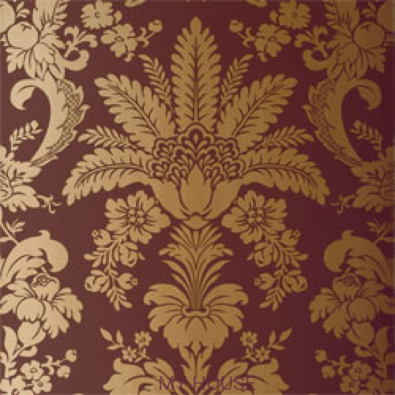 Обои River Road T3848 Addison Damask Metallic on Brown THIBAUT
