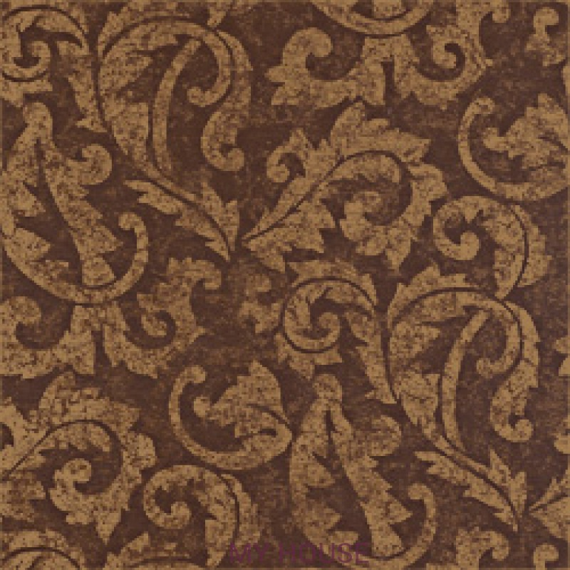 Обои River Road T3859 Ardmore Scroll Metallic on Brown THIBAUT