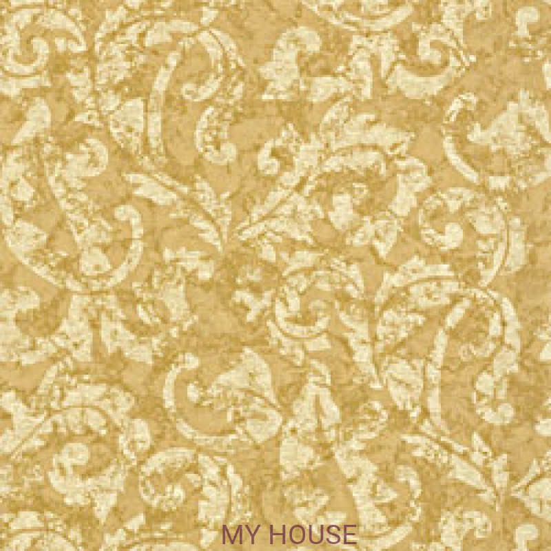 Обои River Road T3861 Ardmore Scroll Metallic on Gold THIBAUT